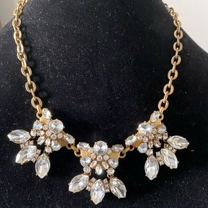 J.Crew Crystal and Gold STATEMENT NECKLACE